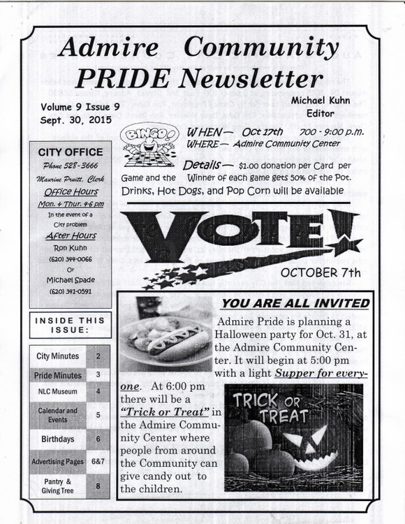 Pride Newsletter - Front Page